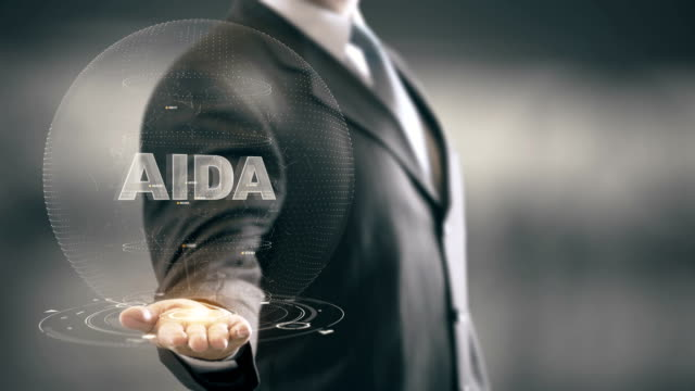 AIDA with hologram businessman concept video