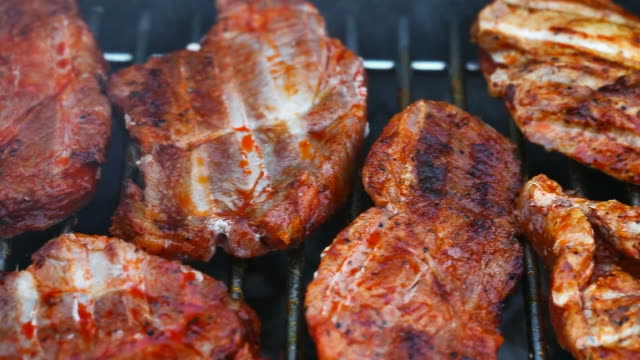 BBQ with Steaks and Sausages video