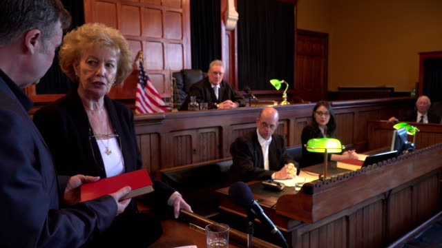 4K: Witness taking Oath in USA Courthouse video