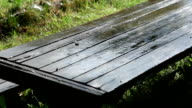 Woden table under the rain video