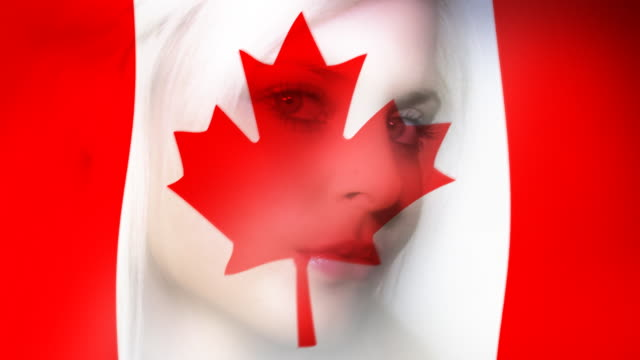 Woman and a Canadian flag video