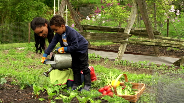 Woman and child in the garden video