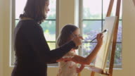 Woman and daughter painting together video
