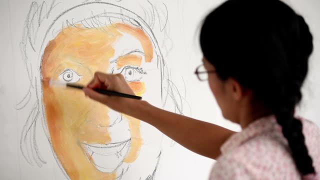 Woman Artist Oil Painting Portrait video