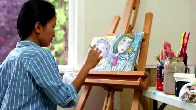 Woman Artist Oil Painting video