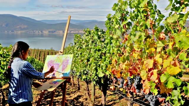 Woman Artist Oil Painting Vineyard video