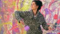 Woman Artist Splatter Painting video