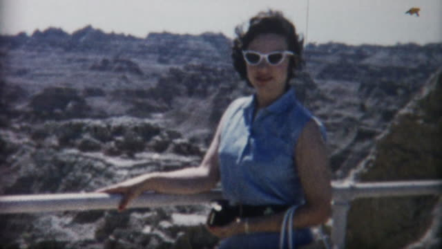 Woman at Badlands 1950's video