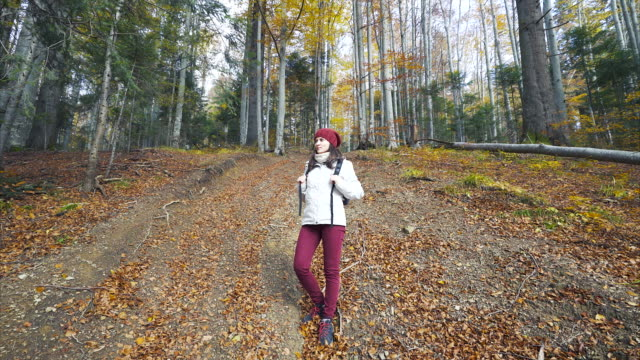 Woman backpacker travelling. video