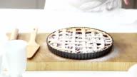woman baking a pie video