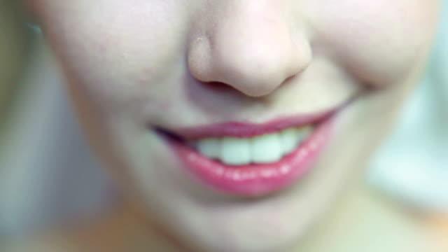 Woman biting her lips video