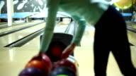 Woman bowling. video