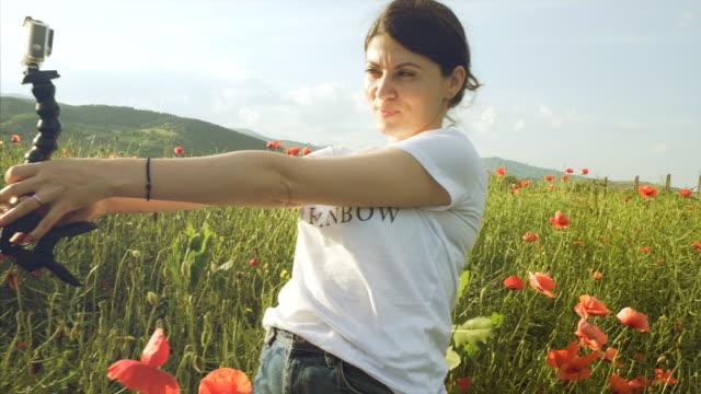 Woman capturing memories. video