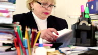 Woman chief financial officer with commercial papers video