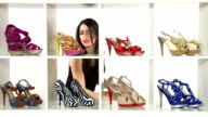 Woman choosing shoes video