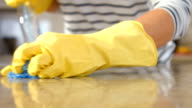 Woman cleaning counter video