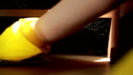 woman cleaning the floor. girl in gloves cleans the kitchen video
