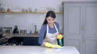 Woman cleaning the kitchen counter with a cloth and spray video