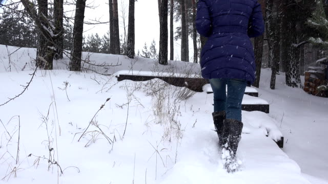 woman climbs up stairs covered with snow in winter park. FullHD video