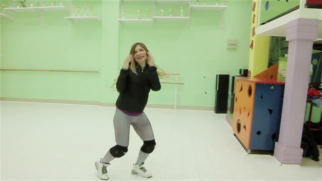 woman dancing hip hop dance,camera stabilization shoot video