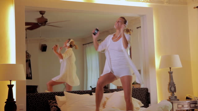 Woman dancing on bed video