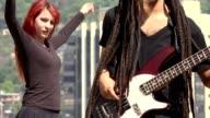 Woman Dancing With Guitarist video