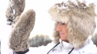 HD SUPER SLOW-MO: Woman Defending From Snowballs video