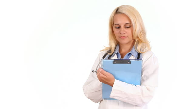 Woman doctor writing video