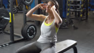 Woman doing abs on an adjustable bench video