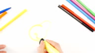 Woman drawing the pear using yellow felt-tip pen on white paper, time lapse video