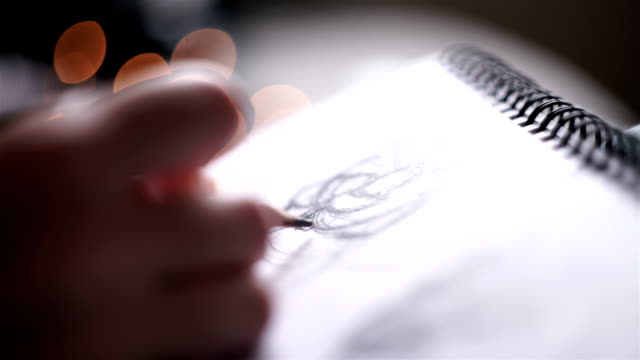 woman draws a sketch on christmas video