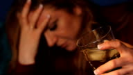 Woman drinking alcohol. video