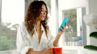 Woman Drinking Coffee Morning video