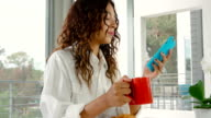 Woman Drinking Coffee Morning video