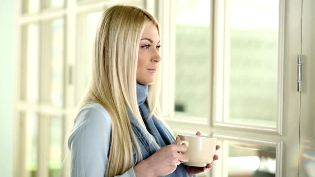 Woman Drinking Morning Coffee video