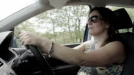 Woman Driving Family Car In slow Motion video