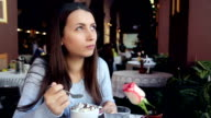 Woman Eating Chokolate in Cafe video