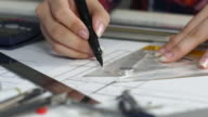 Woman Engineer working with architect construction design blueprints,Architect concept video