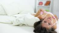 Woman enjoy in bed video