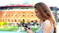 Woman enjoying city life video
