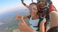 POV Woman enjoying her first skydive video