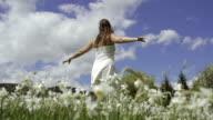 SLOW MOTION: Woman enjoying in blooming spring video