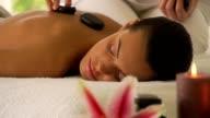 Woman enjoying massage video