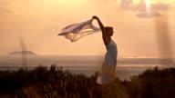SLO MO Woman enjoying summer time video