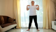 Woman exercise in house video