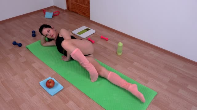 woman exercising fitness pilates video