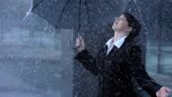 Woman Exposing To The Rain video