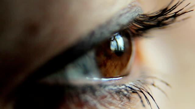 woman eye close up video