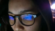 Woman eye looking monitor, surfing Internet, reflection in glasses BU CO ED RS video
