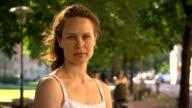 Woman face outdoor. video